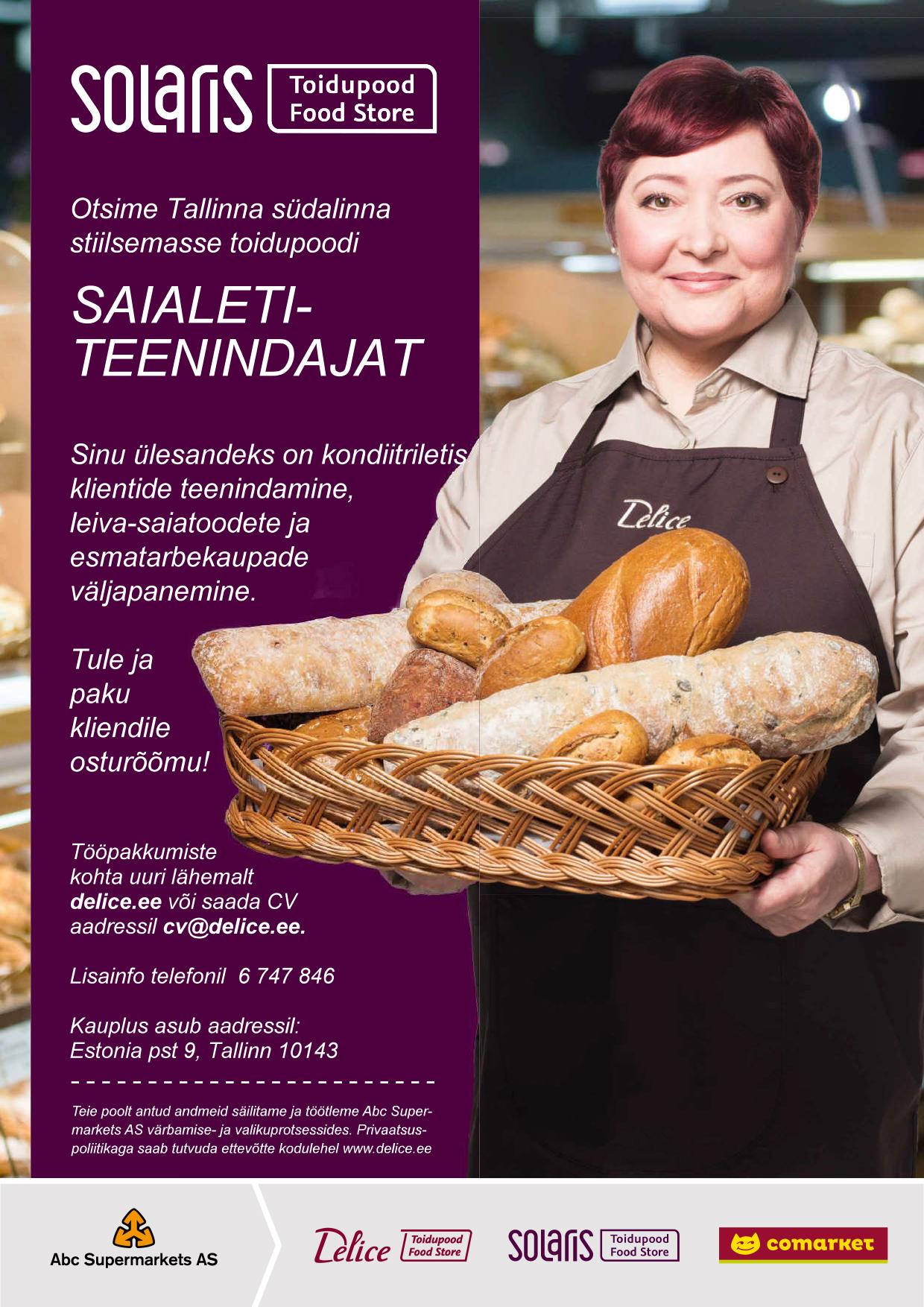 Saiade-leibade-kookide väljapanija-klienditeenindaja