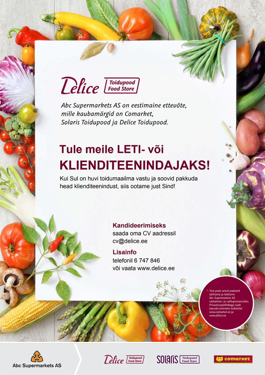 Leti- või klienditeenindaja Pärnu Delice Toidupoodi